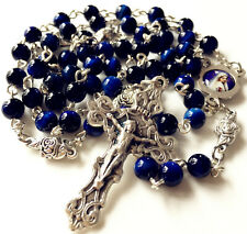 Blue Tiger Eye Beads & Silver Rose Beads Catholic Rosary Cross Crucifix Necklace