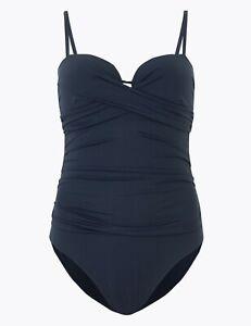 Lovely BNWT M&S navy Secret Slimming tummy control wrap bandeau swimsuit 10 - 20