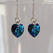 Argento Sterling 925 Bermuda cristallo azzurro Cuore Orecchini Swarovski Elements