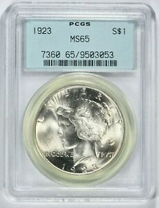 1923 $1 Peace Silver Dollar PCGS MS65 OGH  (I-5739) 99c NO RESERVE  Witter Coin