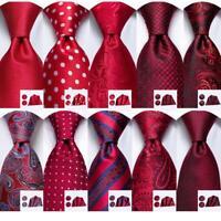 Mens Silk Tie Set Red Necktie Hanky Cufflinks Solid Paisley Floral Wedding Party
