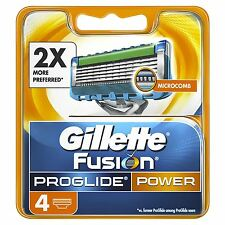 4 X GILLETTE FUSION POWER PROGLIDE MEN'S di Ricambio Lamette da barba