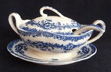 Vintage Blue White China Set Dish Plate Spoon Keeling & Co. Devon c1903 423639