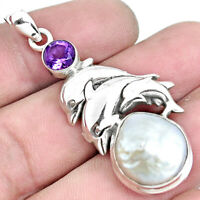 10.17cts Natural White Pearl Amethyst 925 Sterling Silver Dolphin Pendant P42051