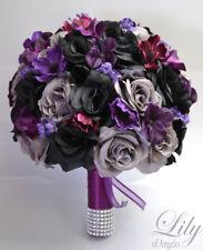 17 Piece Package Wedding Bridal Bouquet Silk Flower Black Plum Grey Burgundy