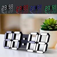 3D Digital LED Table Desk Night Wall Clock Alarm Watch 24 or 12 Hour Display
