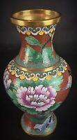 Ancien vase en laiton cloisonné émaillé Chine 1960-70 décors papillons & floraux