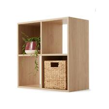 4 Cube Unit Bookshelf Storage Bookcase Oak Look Case Organiser Display Shelf NEW