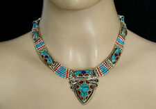 Ethnic Handmade Sterling silver Necklace Handmade Turquoise Coral kLl1