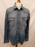 "Retro Watsons Denim Shirt - Size M - Blue - 100% Cotton - (P2P 20"") Long Sleeve"