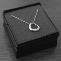 Genuine 925 Sterling Silver Floating Heart Pendant Necklace with Gift Box