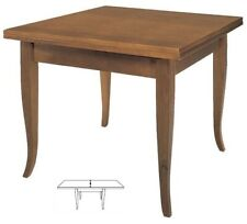 Tavolo quadrato a libro in legno da cucina classico Noce Arte Povera