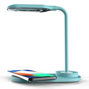 LED Desk Lamp Home Light QI Wireless Phone Charger For Office Lighting Blue
