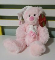 COLES TEDDY BEAR PINK CHRISTMAS BEAR PINK AND WHITE SCARF 21CM