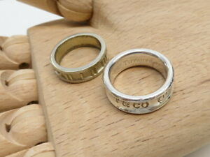 Tiffany&Co. Atlas Ring 1837 Narrow Ring Silver925 Set of 2 Authentic #19