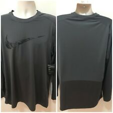 Nike Dri-Fit Mens Midnight Fog Sz XL LS Fitted Training Shirt $40NWT #859450-038