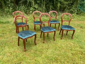 Six Antique Victorian Style Reproduction Balloon Back Dining Chairs Turquoise