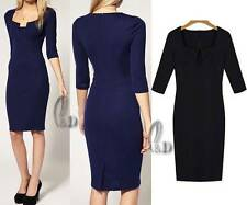 Cotton Blend Mid-Calf Solid Stretch, Bodycon Dresses