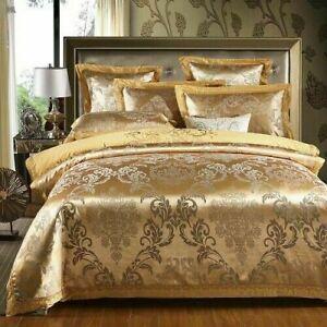 Sateen Cotton Gold Duvet Cover Cotton Sheet 4pcs Bedding Set Luxury Embroidery