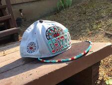 Native American beaded baseball hat Flatbill Grizzly hat