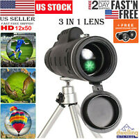 12x50 High Definition Monocular DWP Telescope Scope 3 in 1 Lens for Smartphone