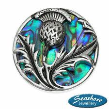 Scottish Thistle Brooch Paua Abalone Shell Silver Fashion Jewellery 30x30mm
