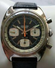 Rara vintage Waltham Cronógrafo Dial Panda Valjoux 7736 S. Acero Hombre Reloj