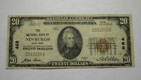 $20 1929 Newburgh New York NY National Currency Bank Note Bill! Ch. #468 RARE!