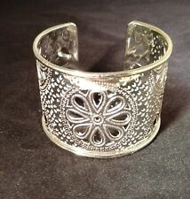 Sterling Silver Plated Adjustable Cuff Bracelet, FLORAL CUT-OUT, by Anju