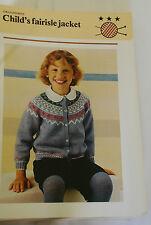 Knitting Pattern Pingouin  Child's Fairisle Jacket 64 - 76cm