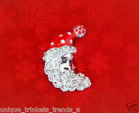 SANTA CLAUS PIN BROOCH UNDER THE CHRISTMAS TREE GIFT FOR HER STOCKING STUFFER