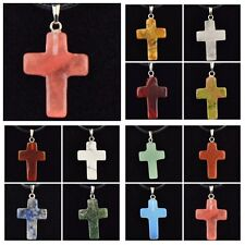 Lot 12 pcs Natural Stone cross Pendant Necklace Wholesale