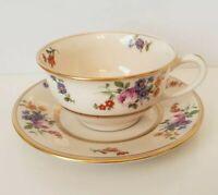 "Floral Bouquet Coxon Belleek coffee tea cup and saucer set 5"""