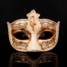 Ivory Venetian Masquerade Mask, Gold Mardi Gras Music Notes Masquerade Mask