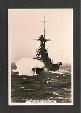 HMS WARSPITE Taking it In Board through a rough Atlantic 1938 original photo