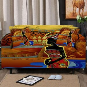Africa Woman Portrait Sofa Chair Couch Cushion Stretch Cover Slipcover Set Decor