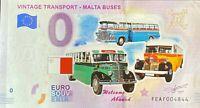 BILLET 0  EURO VINTAGE TRANSPORT MALTA BUSES COULEUR   2019  NUMERO DIVERS