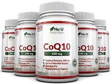 CoQ10 100mg, 5 x 120 Coenzyme Capsules UK Made 100% Guarantee Nu U Nutrition