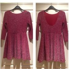 Topshop Cherry Red Silver Lurex Flippy Skater Party Mini Dress - Size 6