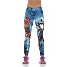 Halloween Costumes Print Leggings Women Corpse Bride High Waist Fitness Pant M