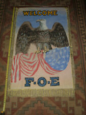 "Vintage F.O.E. Fraternal Order of Eagles Large Canvas Banner ""Welcome Sign"""