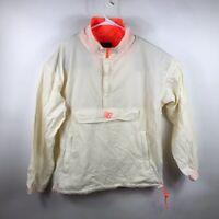 Bronze Womens Windbreaker Jacket Ivory Coral Waist Length Half Zip Mesh Lined M