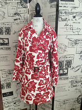 Boden Trench Coat Red & White Floral Size 14