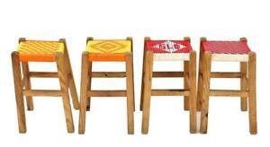 Vintage retro kitchen bench folk art STOOL loom shabby barn salvage home decor