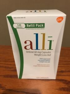 Alli Diet Pills for Weight Loss, Orlistat 60 mg Capsules, 120 count Exp:03/22+