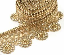 Hand Beaded Bridal Prom Border 1 YD Trim Ribbon Golden Lace COLLECTIBLE EDH