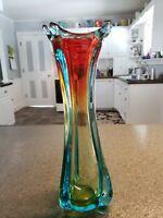 "VINTAGE MURANO ITALIAN ART GLASS SOMMERSO BLUE, AMBER, RED - 3 LOBED 12"" VASE"