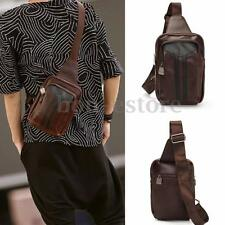 Retro Men Leather Small Backpack Sling Chest Crossbody Sport Shoulder Bag Purse