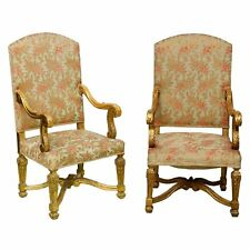 Vanderbilt Palatial French Grand Style Louis XIV Giltwood Throne Chairs