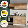 Küchenzeile Küche Komplett Set Küchenblock Einbauküche 180 cm Eiche Holz Küche